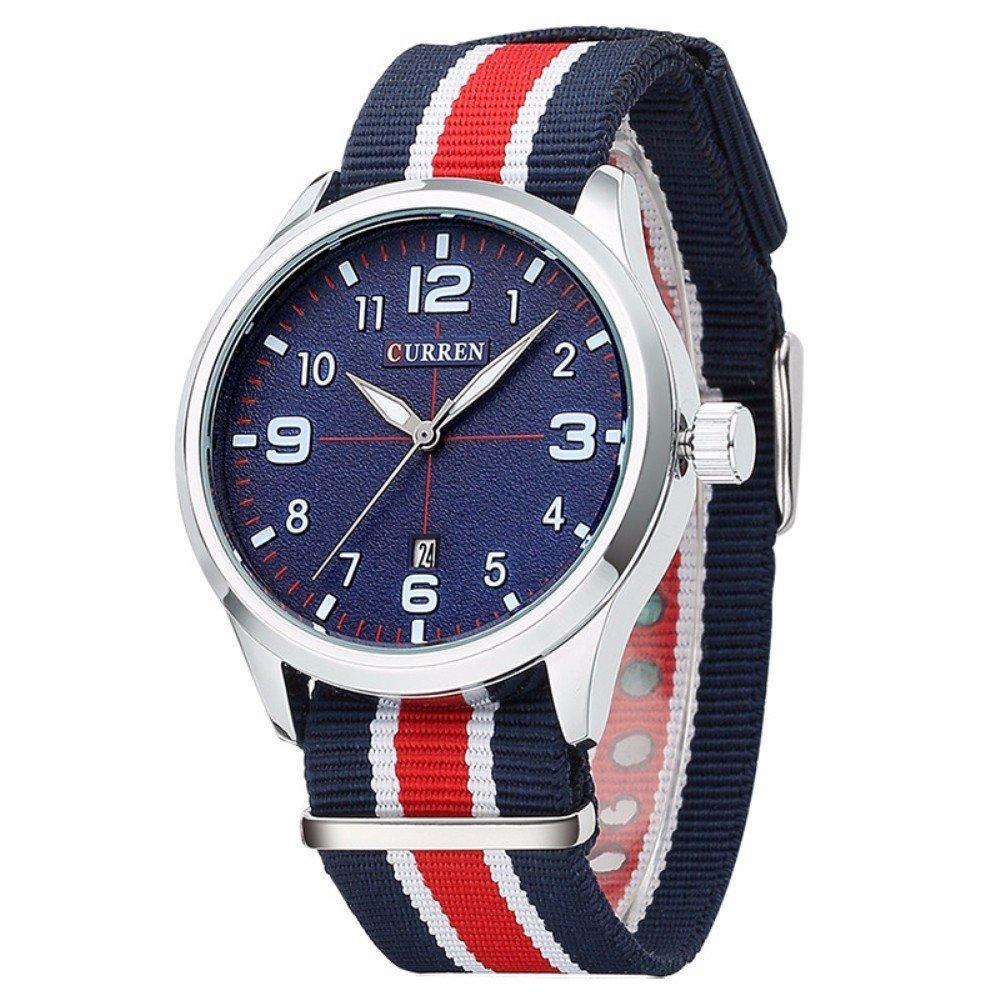 FIZILI 8195 Men Deep Blue Dial Canvas Strap Quratz Wristwatch