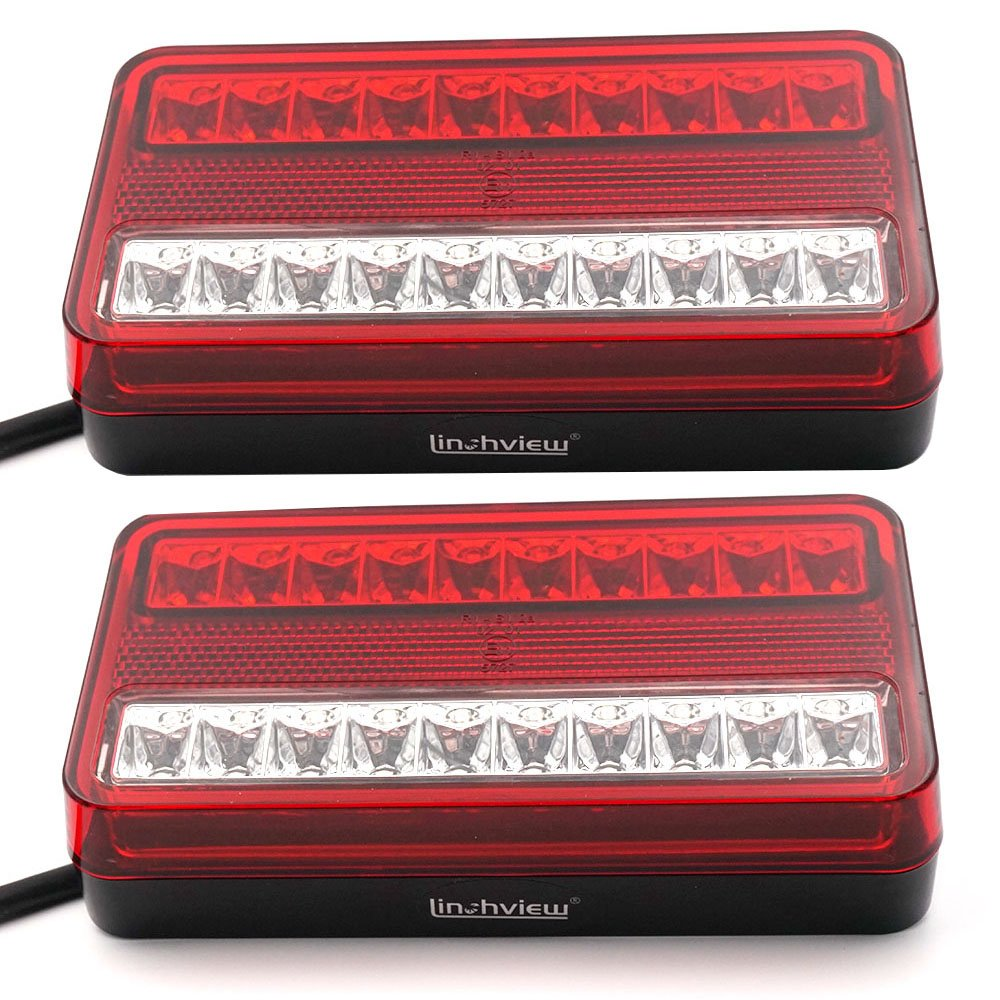Linchview 20 LEDs taillight suitable for SUV car truck trailer LED tail light light indicators waterproof warning light brake lights 2 pcs rear light 5826888469