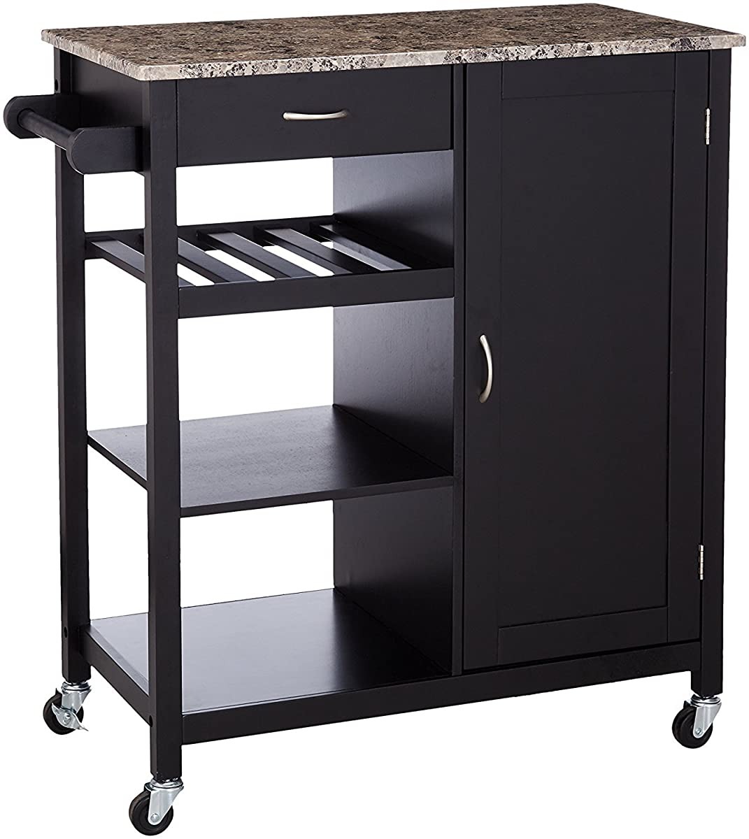 Kings Brand Black Finish Wood & Marble Finish Top Kitchen Storage Cabinet Cart