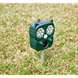 Chanshee Animal Repellent Outdoor Solar Powered Animal Repeller with Optional Audible Alarm- Effectively Scares Away Cats, Do