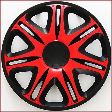 4 Tapacubos Rojo 14 Tapacubos – Tapacubos de 14 pulgadas Negro Rojo NASCAR red14 inkl.