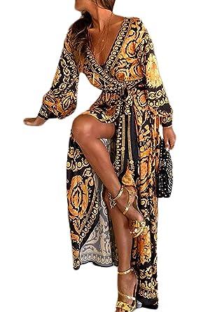 e193e1fd8f6 Sevozimda Femmes Cocktail Robes Bohème À Manches Longues Floral Automne  Parti Maxi Robe  Amazon.fr  Vêtements et accessoires