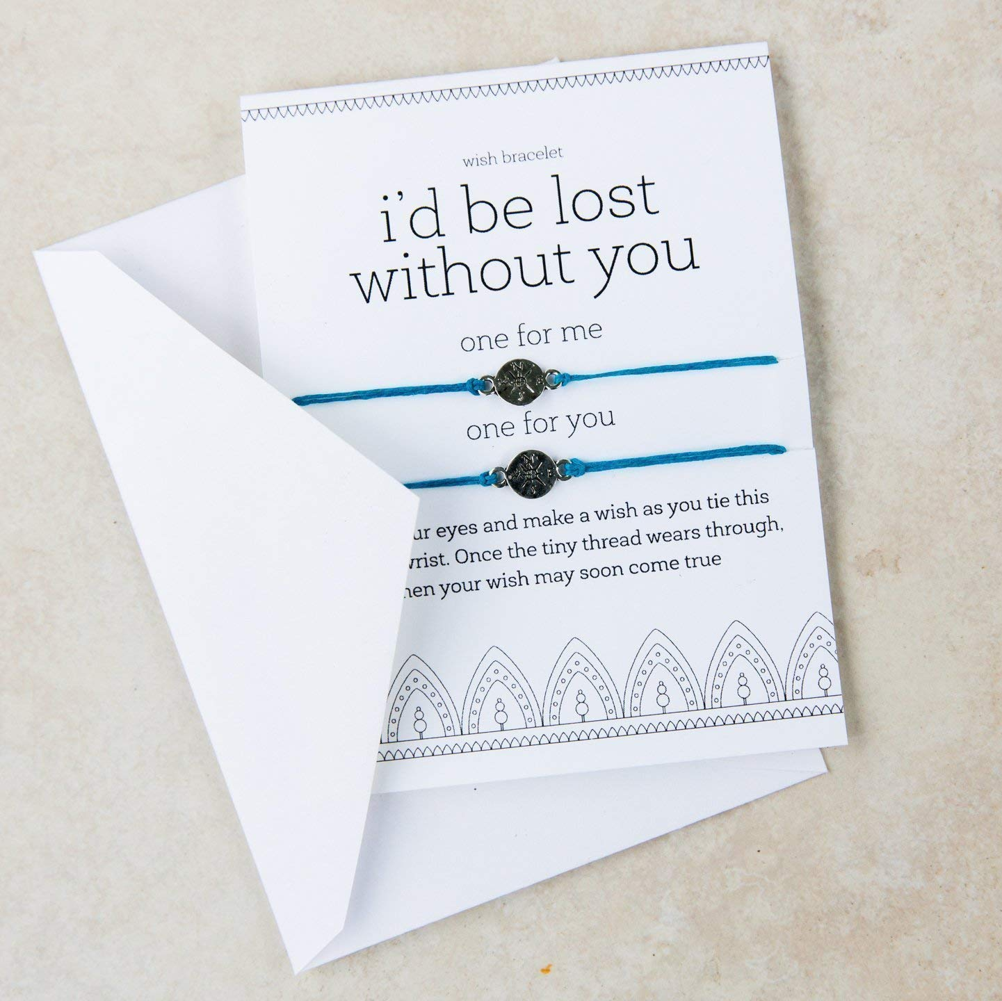I'd Be Lost Without You Matching Bracelet Set of Two and Greeting Card Compass Long Distance Friendship Wish Bracelet