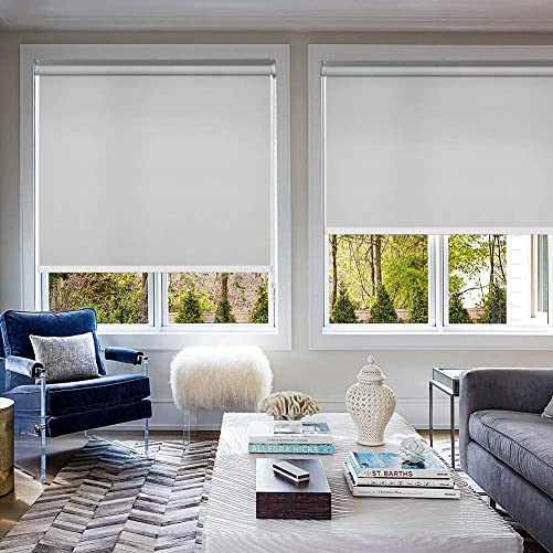MiLin Window Shades 100 Blackout Roller Shades, Fast Delivery Window Blinds Custom Cut to Size, Room Darkening Waterproof Thermal Insulated for Home Office – Light Gray 74 W x 48 H