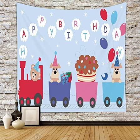 Polyester Tapestry Wall HangingBirthday Decorations For KidsBaby Bear Dog In Train Balloons
