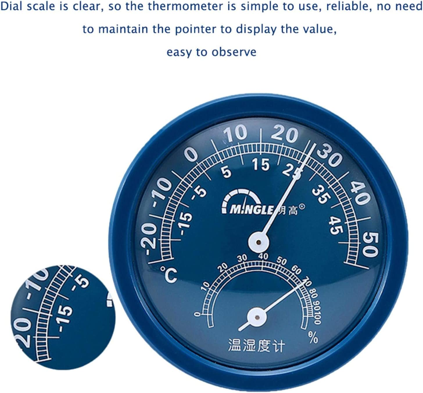 2.95 Indoor Outdoor Weather Thermometer//Hygrometer for Patio Wall Decorative advancethy Surface or Wall Mounted Temperature Monitor