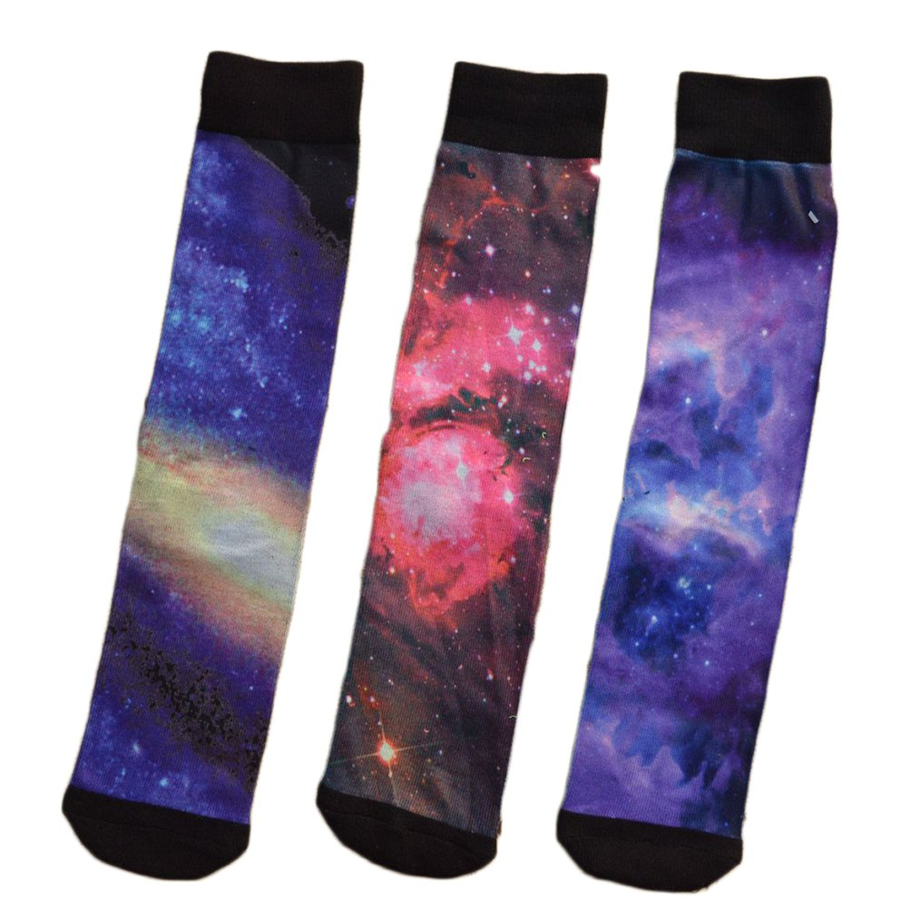 Brand New Cusom Full Color Galaxy Calf-Length Socks with Design - Pack of 3 Pairs (Mix Set, Medium)