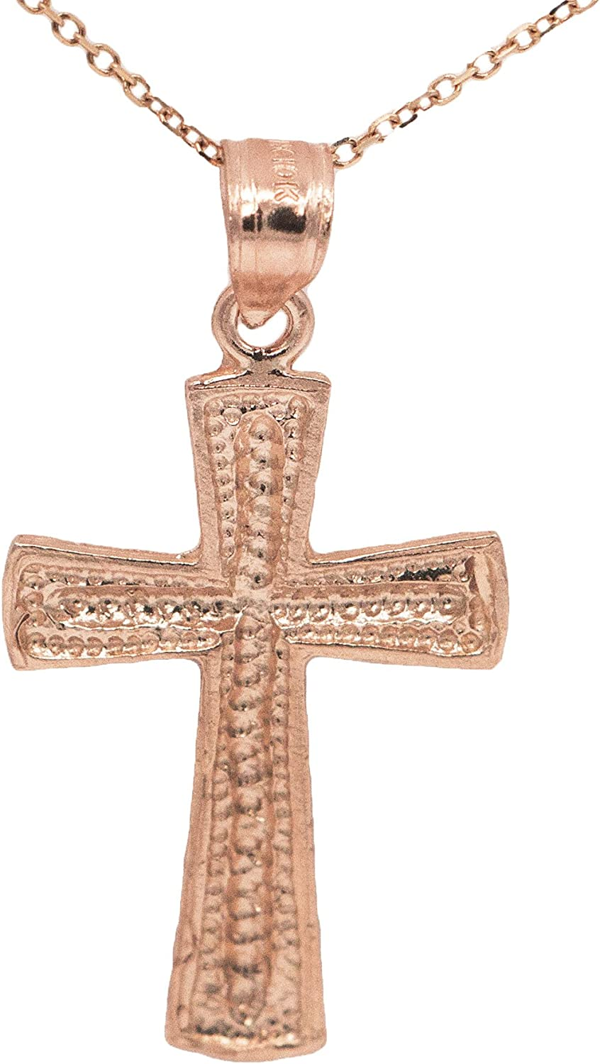 Ice on Fire Jewelry 14k Rose Gold Cross Pendant Necklace