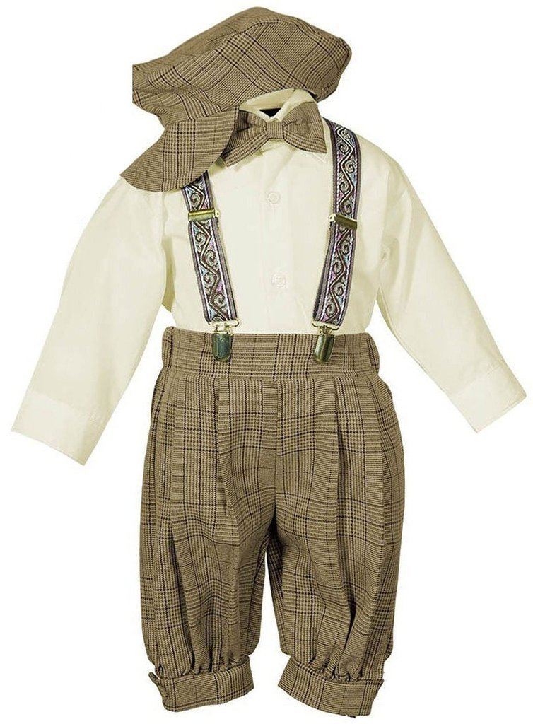 iGirlDress Vintage Dress Suit-Tuxedo Knickers Outfit Set Baby Boys & Toddler 18mos Brown/Ivory by iGirldress