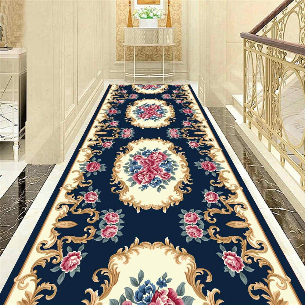 KFEKDT Home Decorative Carpet Indoor Entrance Mat Bedroom Bathroom Kitchen Floral Floor Mat Rug Living Room Area Rug A8 60x270cm