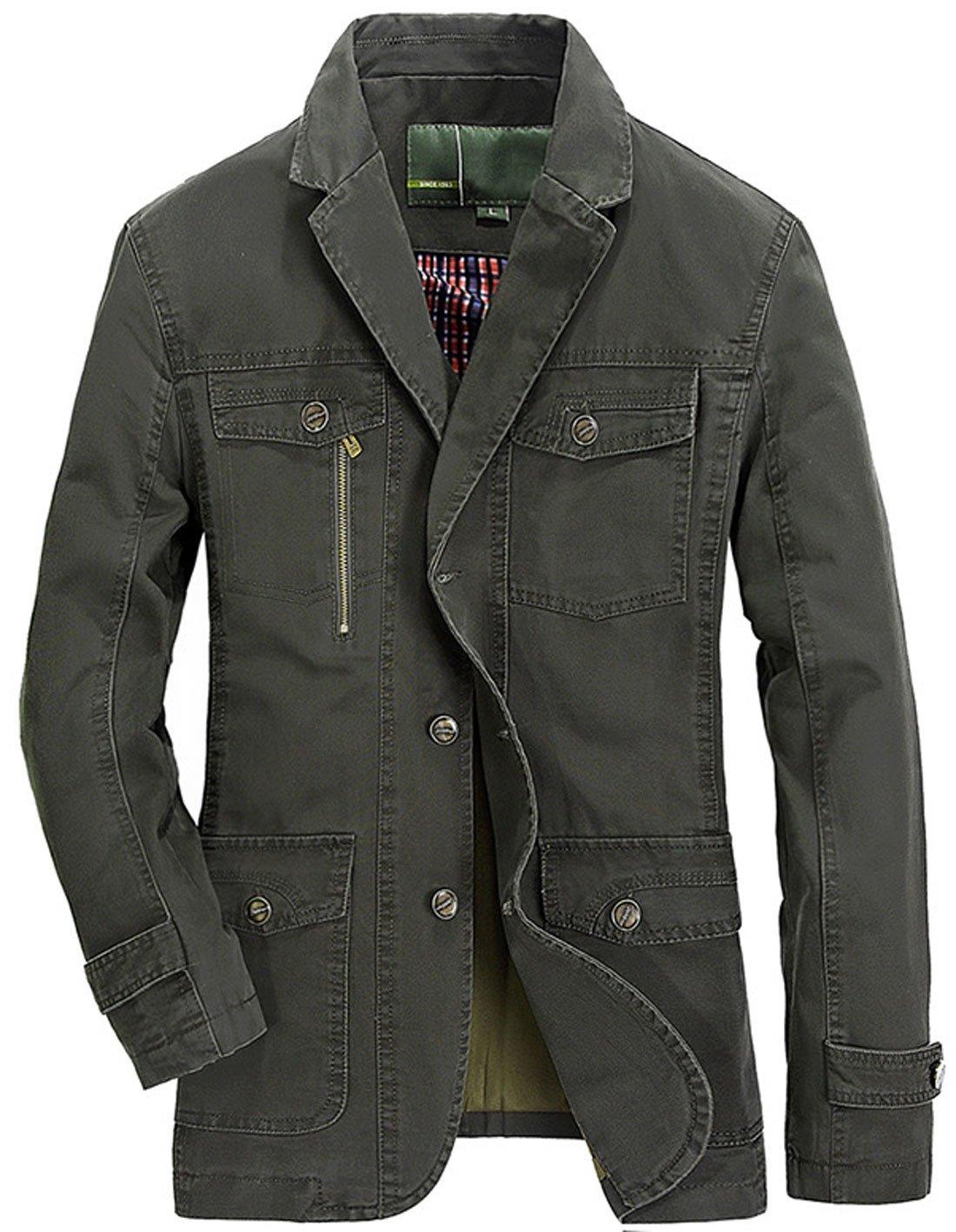 Chouyatou Men's Casual Notched Collar Multi Pockets 3 Buttons Lightweight Blazer Jackets (Large, Armygreen)