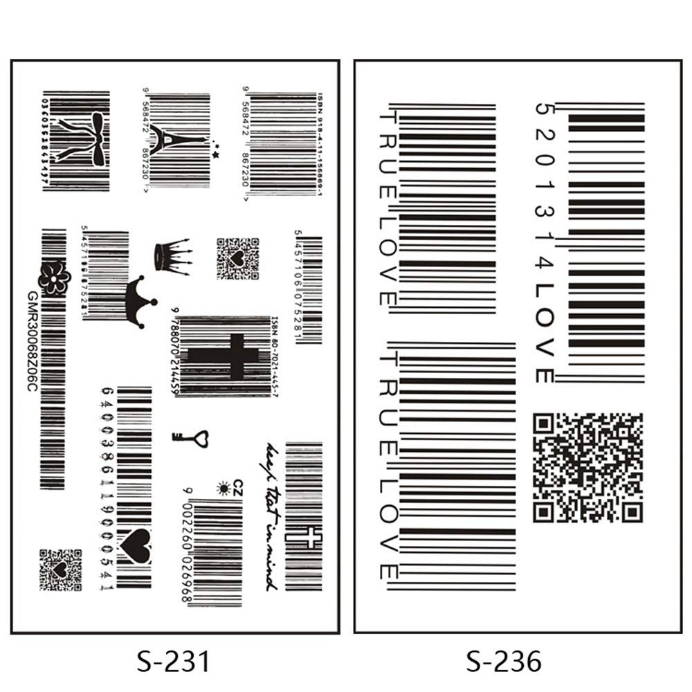 5 Pcs Barcode Temporary Tattoo Body Painting QR Code Fake Tattoo Stickers for Arms Legs Shoulder or Back Waterproof Fashion Removable Tattoo Sticker Women Men Kids Individual Styles Available (B) by paway (Image #3)