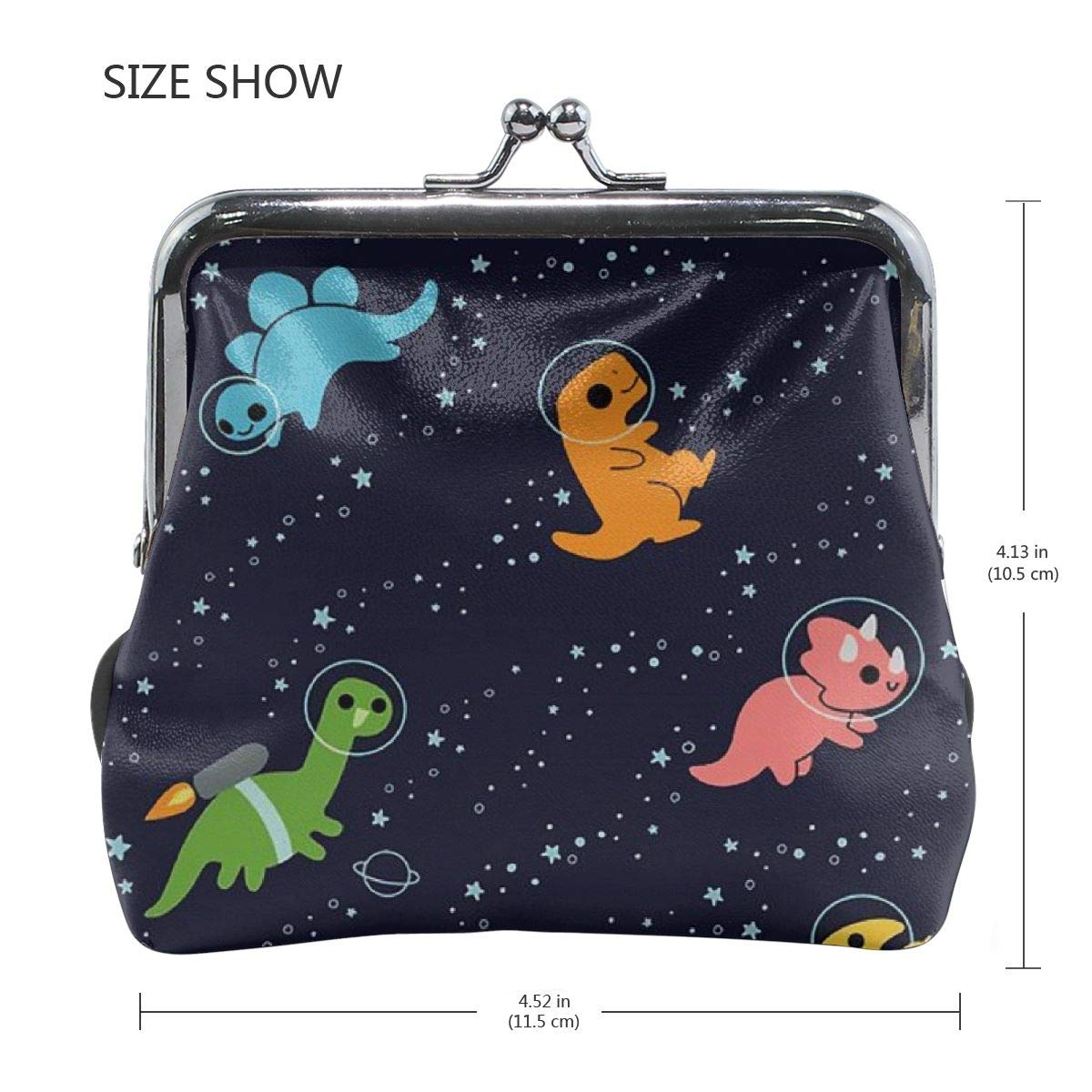 Womens Space Dinosaurs Buckle Coin Purses Soft Leather Wallet
