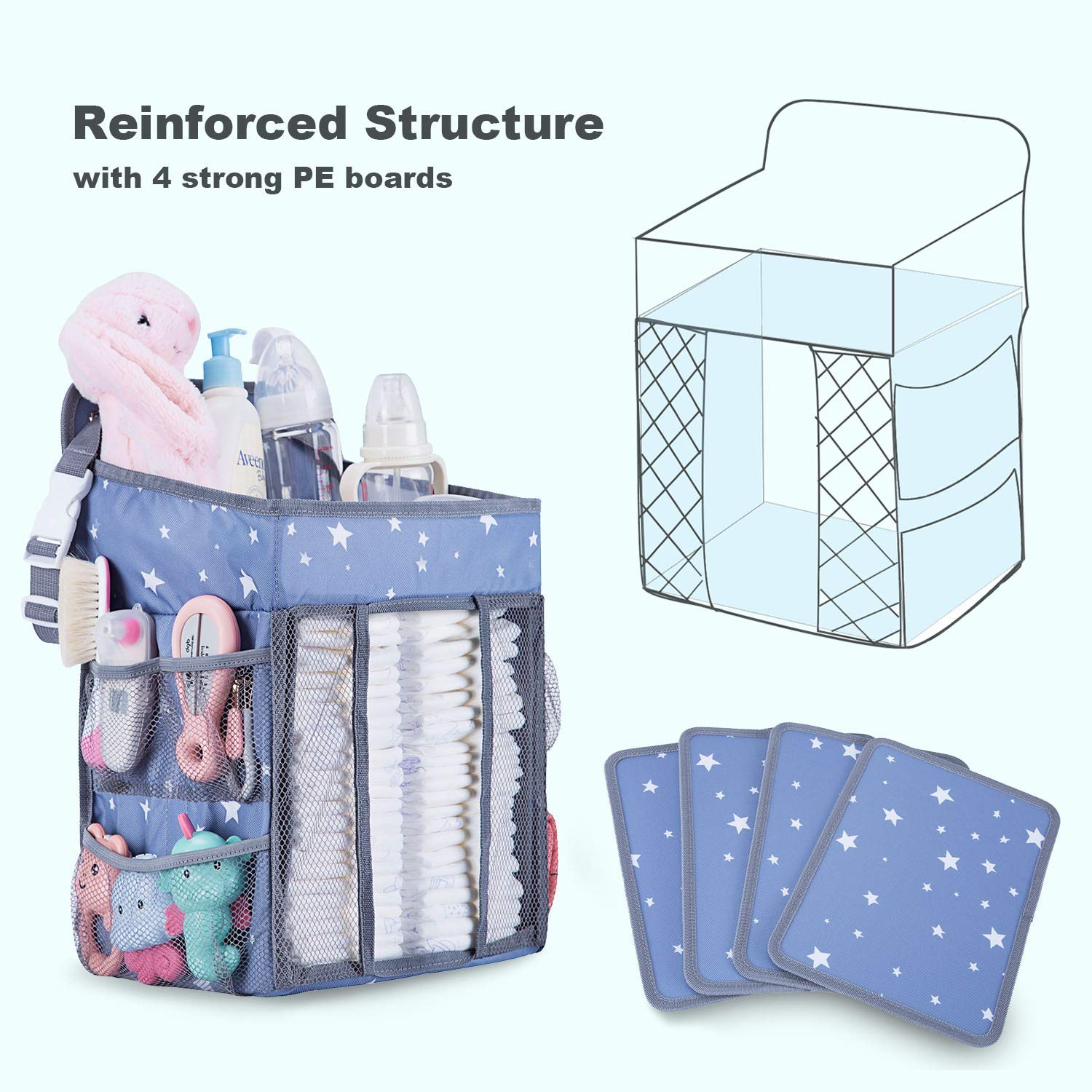 Playard or Wall Crib Baby Nappy Diaper Caddy Organiser Nursery Organization /& Baby Shower Gifts for Newborn Dark Grey Hanging Nappy Storage Diaper Stacker for Changing Table