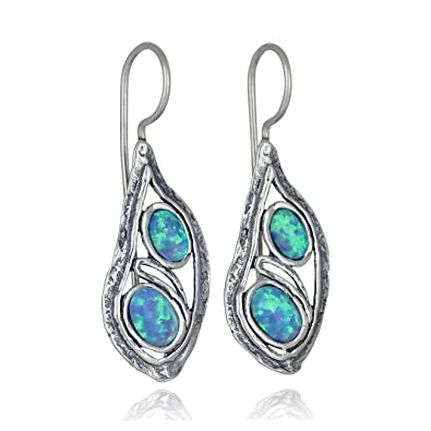 13cece8a6644d Stera Jewelry 925 Sterling Silver Unique Teardrop Earrings with 2 Created  Blue or White Opal Stones