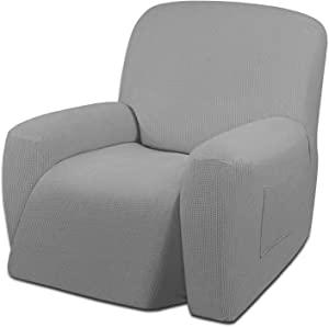Easy-Going Oversized Recliner Stretch Sofa Slipcover Sofa Cover 1 Piece Furniture Protector Couch Soft with Elastic Bottom Kids,Polyester Spandex Jacquard Small Checks(Oversize Recliner,Light Gray)