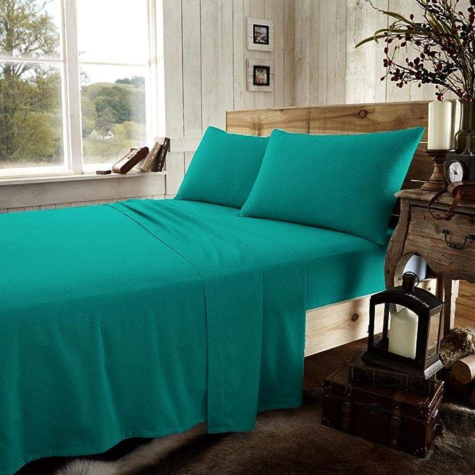 lit 1 Personne Flanelle 100/% Coton peign/é Drap Plat//Drap-Housse//taie doreiller UK Blanc Tonys Textiles Parure de lit Chaud
