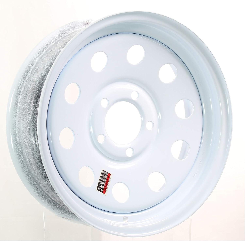15 x 5 White Modular Trailer Wheel with Red /& Blue Pin Stripe 5-5 Bolt Circle