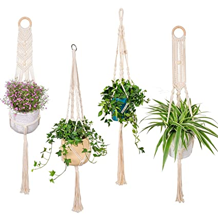 Garden Pots & Planters Reasonable Plant Hangers Indoor Wall Hanging Planter Holder Basket Flower Pot Holder Handmade Cotton Rope 4 Legs Boho Home Decor