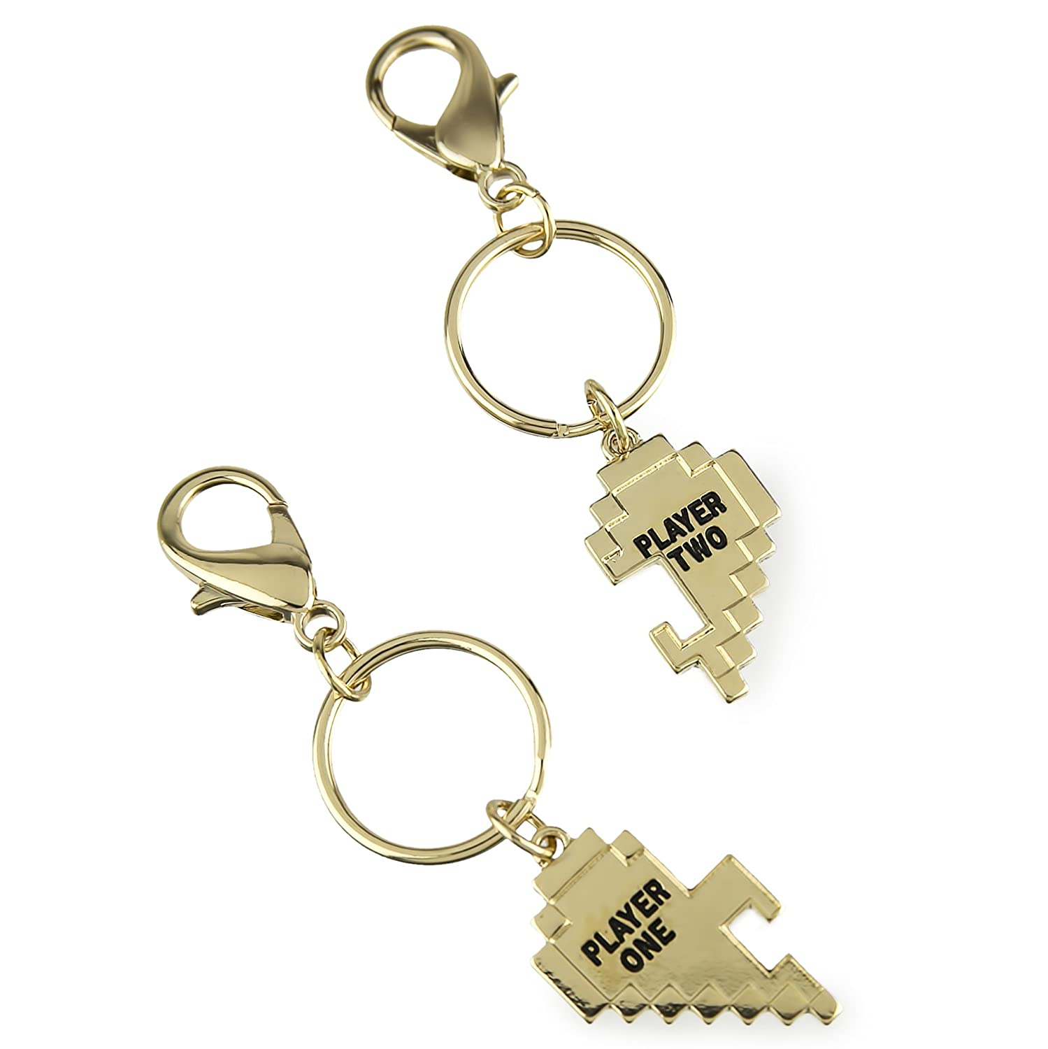 Lux Accessories Gold Tone Player 1 2 Gamer BFF Broken Heart Key Chain Set 2pc