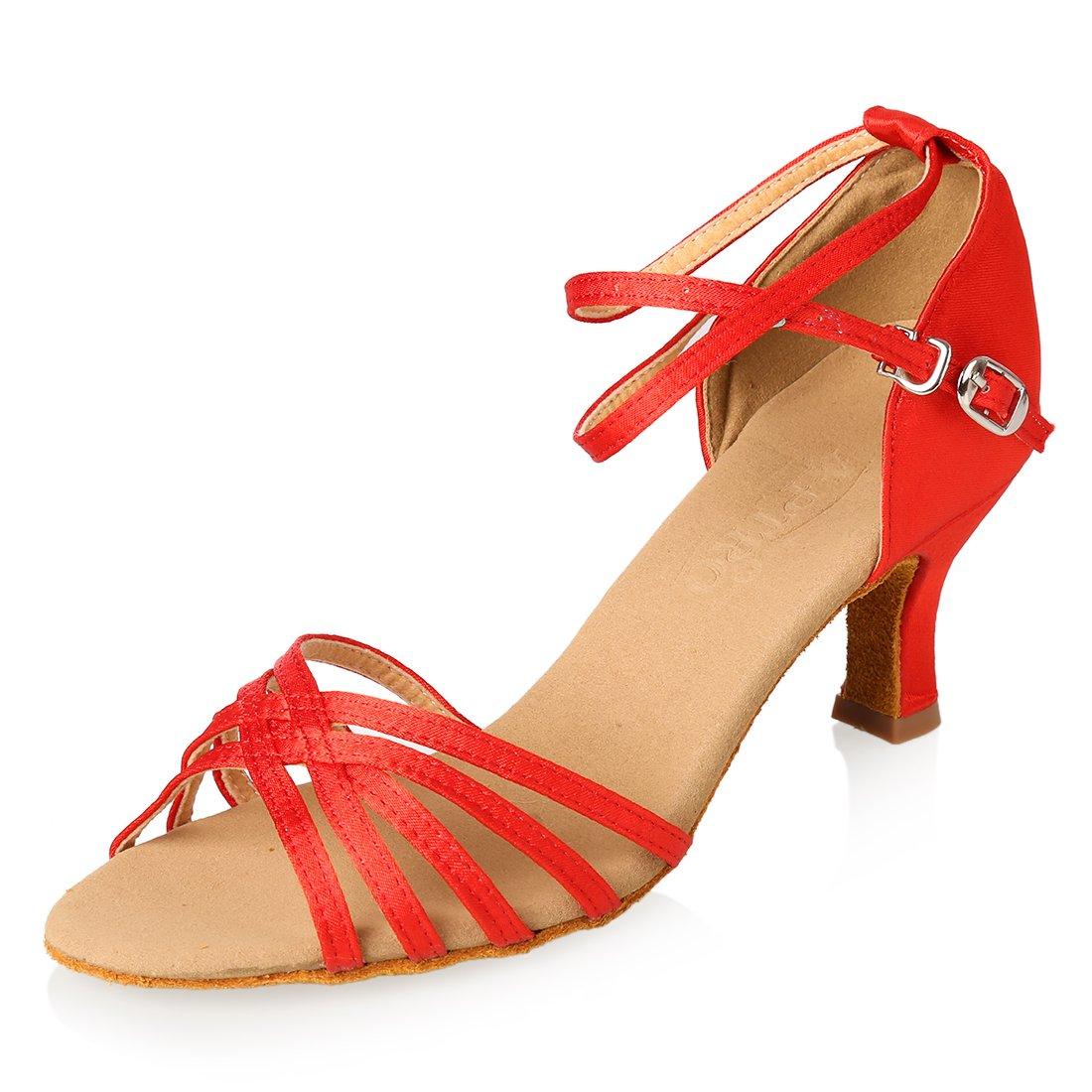 APTRO Damen Schuhe Tanzschuhe Ballsaal Latin Tanzen Silber Sandalen  36 EU|Rot