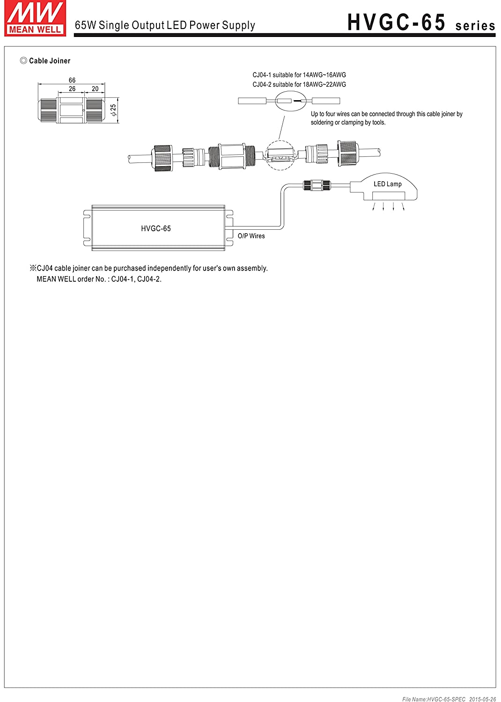 HVGC-65-1050B AC//DC Power Supply Single-OUT 6V to 62V 1.05A 65.1W 7-Pin