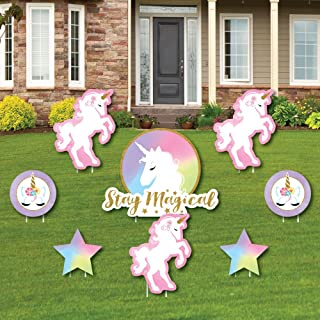 product image for Rainbow Unicorn - Yard Sign & Outdoor Lawn Decorations - Magical Unicorn Baby Shower or Birthday Party Yard Signs - Set of 8