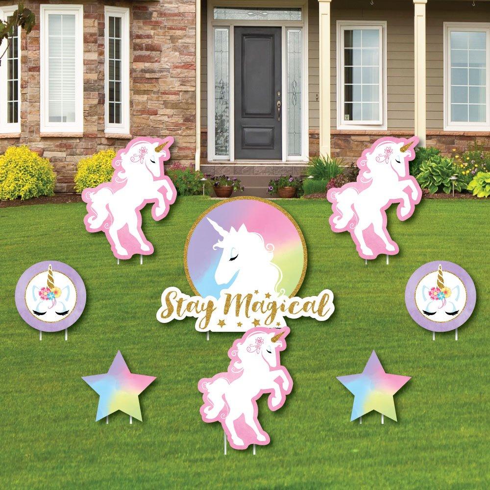 Celebration Birthday Yard Signs Cupcake Flamingo Party Decorations Amazon Rainbow Unicorn