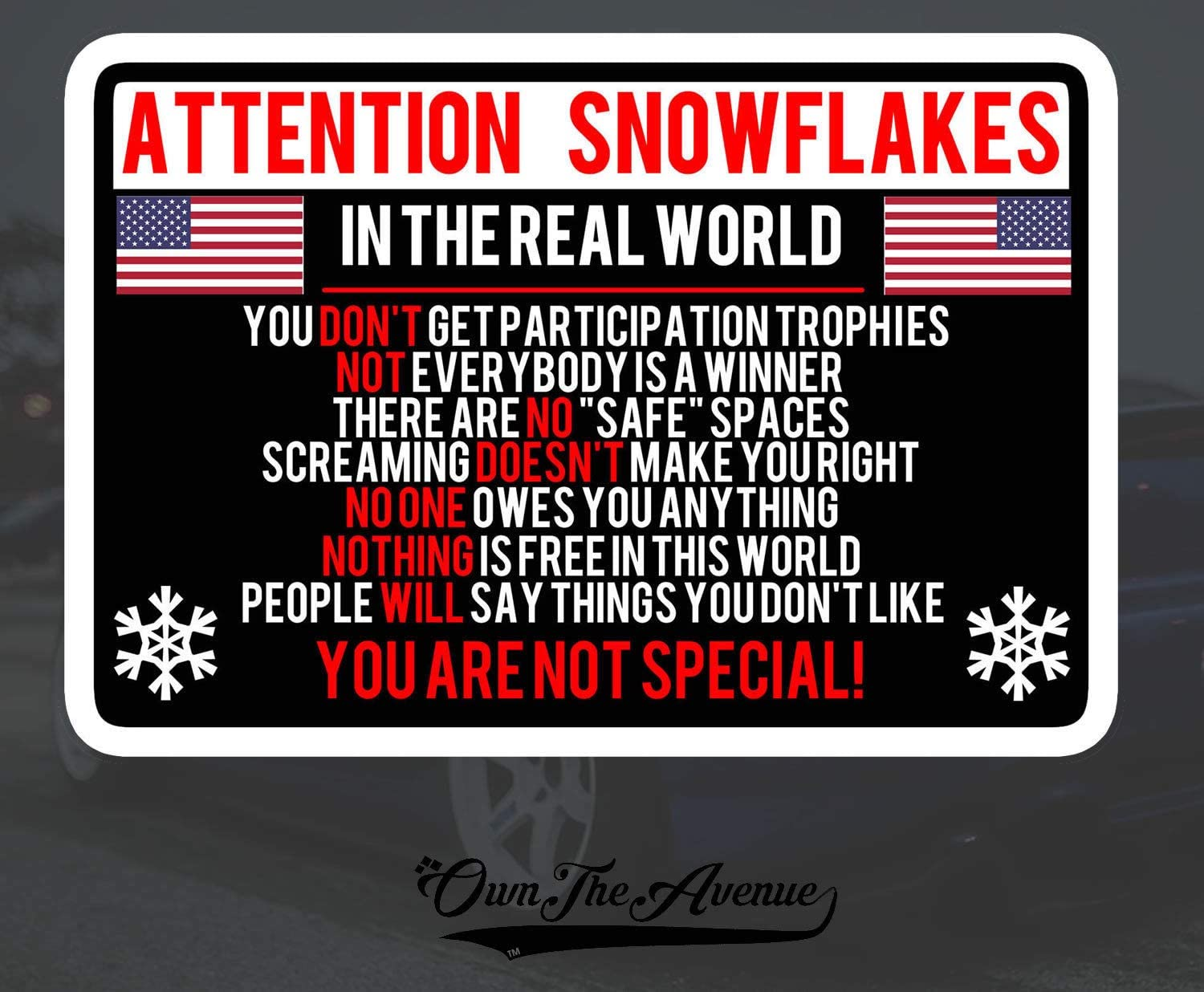 """Attention Snowflake Sticker Decal Political Trump FOR Window Car Truck Bumper 5/"""""""