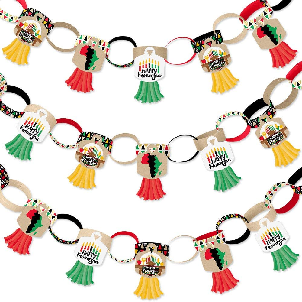 Big Dot of Happiness Happy Kwanzaa - 90 Chain Links and 30 Paper Tassels Decoration Kit - African Heritage Holiday Party Paper Chains Garland - 21 feet