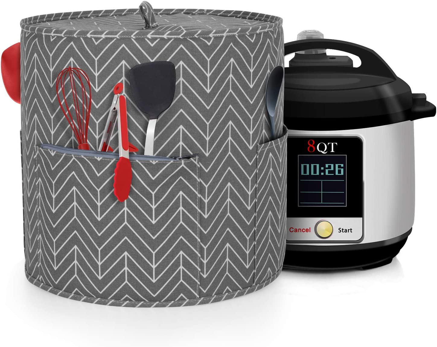 Yarwo Dust Cover Compatible with 8 qt Instant Pot, Cotton Canvas Cover with Pockets and Top Handle for 8 Quart Pressure Cooker and Kitchen Tools, Chevron