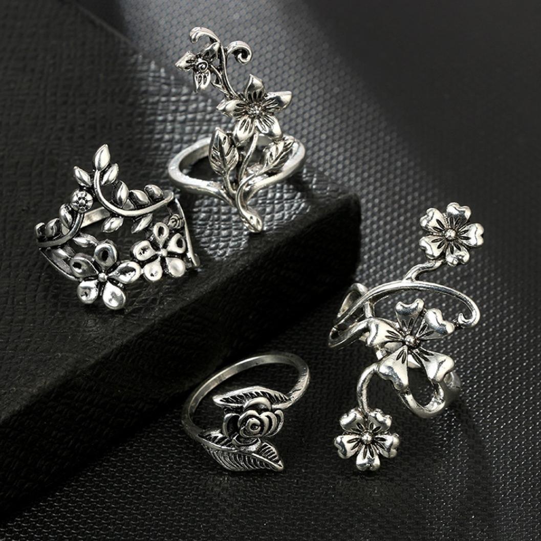 Clearance ! Vintage Ring Set,Vanvler 7pcs Stack Rings Above Knuckle Bohemian Rings (Silver Flowers) by Vanvler Ring (Image #4)