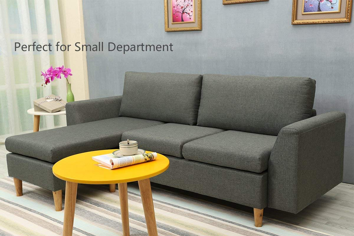 Sectional Sofa, L-Shape Sectional Couch with Reversible Chaise, Couches and Sofas with Modern Linen Fabric for Small Space