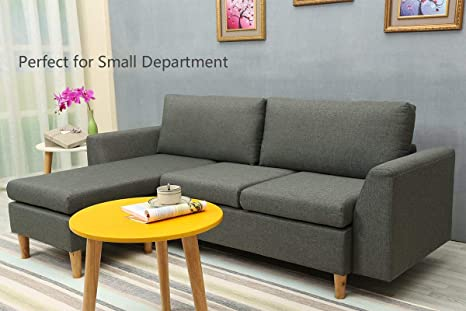 Wondrous Sectional Sofa L Shape Sectional Couch With Reversible Chaise Couches And Sofas With Modern Linen Fabric For Small Space Grey Interior Design Ideas Gentotryabchikinfo