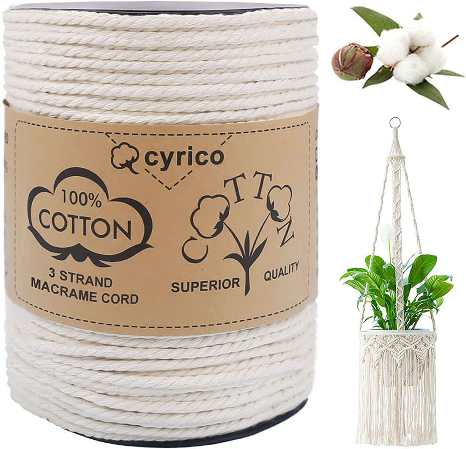 Craft Cotton Cord Twisted Macrame Cord Macrame Rope Light Gray Macrame Cotton Cord 4 mm 150 Meters Twisted  Macrame Cotton String