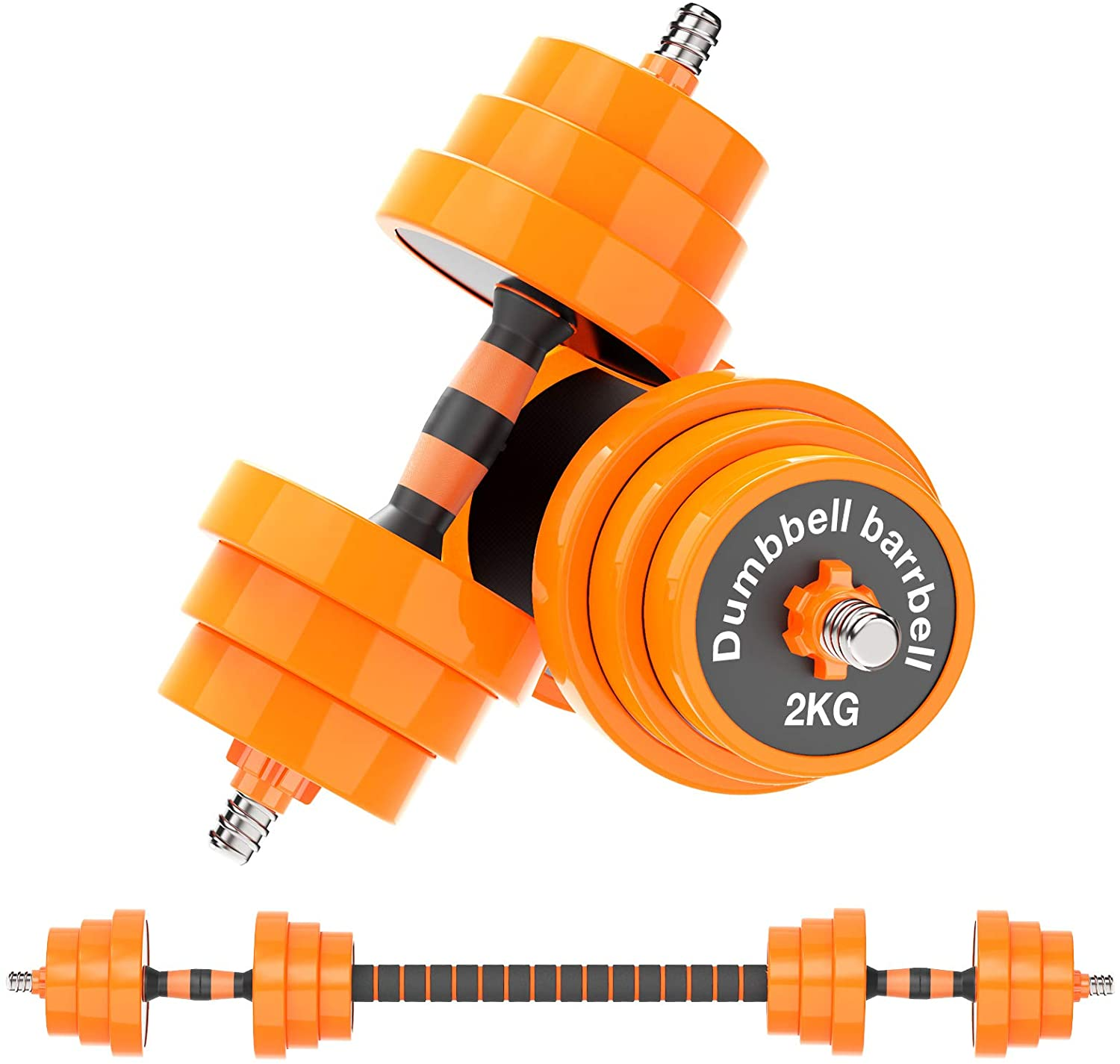 Gruper Adjustable Dumbbells Barbell Set of 2, UP to 44/66 /88 lbs Free Weight Set with Steel Connector, 3 in 1 Dumbbell Barbells Set for Home Gym Fitness Exercises for Men/Women