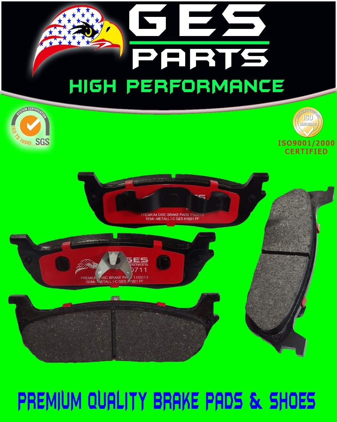 Fits Ford Expedition F150 F250 Lincoln Navigator Premium Quality Rear Brake Pads D711 by Unknown
