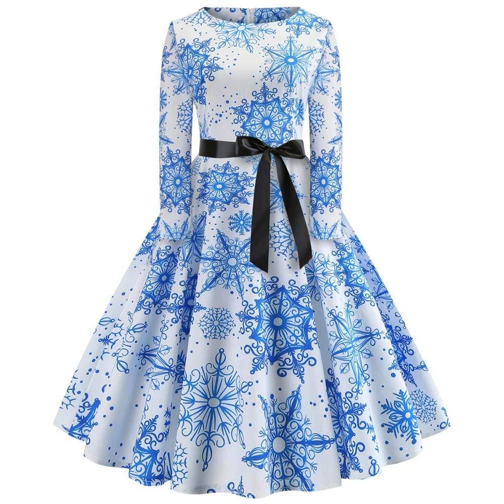 Hilotu Women's Vintage Print Long Sleeve Christmas A-Line Swing Casual Party Dress (Color : Blue, Size : S)