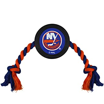 9d1d1cba0f59bf Amazon.com : NHL New York Islanders Puck Toy for Dogs & Cats. Play Hockey  with Your Pet with This Licensed Dog Tough Toy Reward! : Pet Supplies