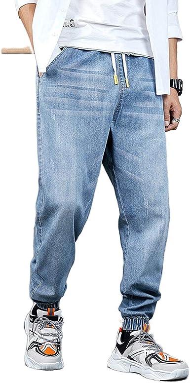 Pantalones 2021 Los Hombres Disenador Streetwear Jeans Hombre Recta Elastico Bordado Pierna Haren Mas El Tamano Fresco Masculino Hip Hop De Gran Tamano Jeans Amazon Es Ropa Y Accesorios