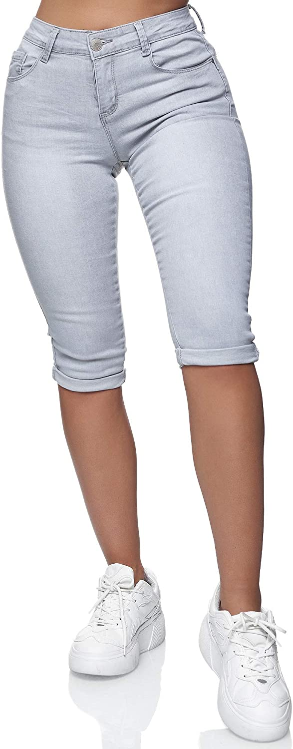 Elara Damen 3//4 Jeans Push Up Capri Chunkyrayan