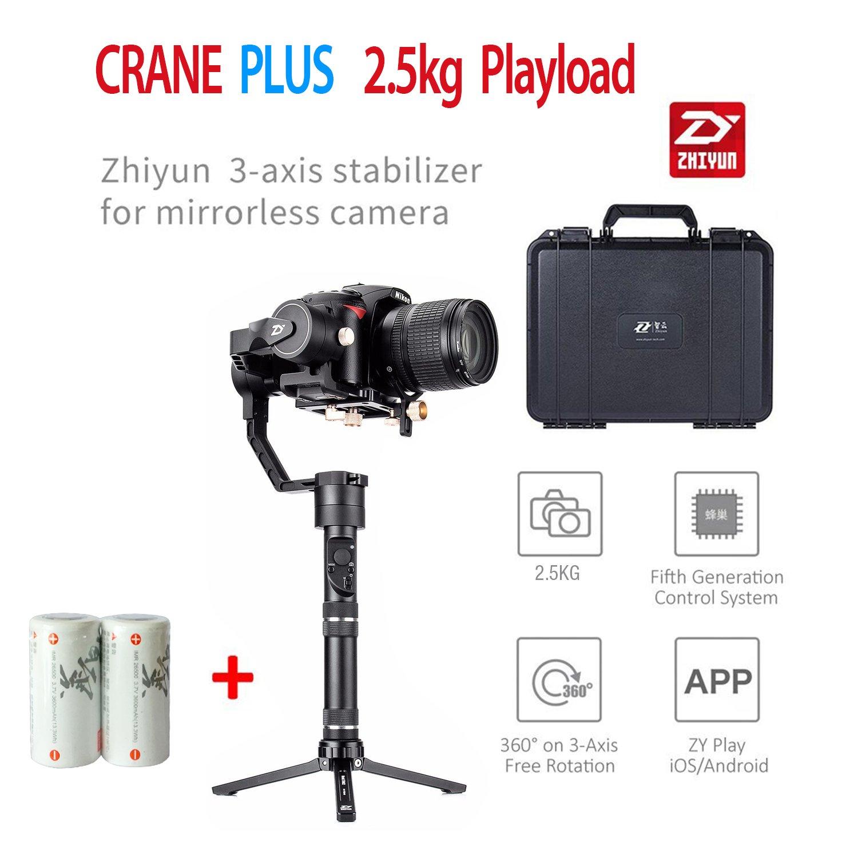 Zhiyun Crane Plus 3軸ハンドヘルドジンバルスタビライザー2500 gペイロードサポートLong Exposure Time Lapse motionmemoryオブジェクトトラッキングfor Canon Nikon Sony Panasonicなど、三脚、余分なバッテリーとブレース   B079691VKJ