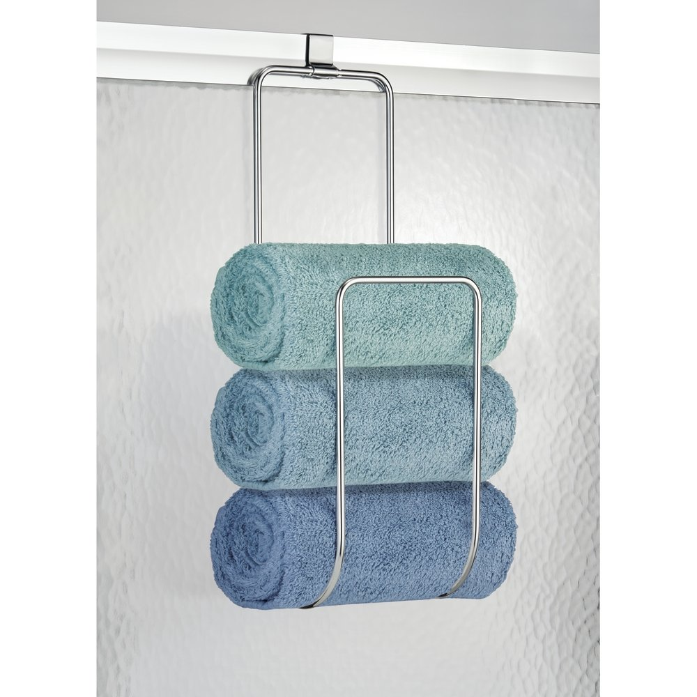 Amazon.com: mDesign Over the Door Towel Holder for Bathroom Shower ...