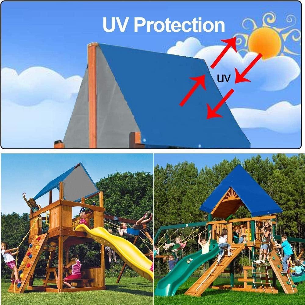 NEWCOMDIGI 52 x 90 Swing Set Replacement Tarp Swing Set Canopy Playground Replacement Canopy Swing Set Shade Playground Roof Waterproof Cover for Children Kids Play Set Outdoor Blue