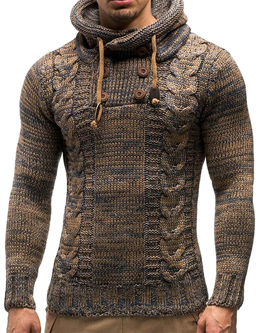 Fubotevic Mens Hemp Flowers Color Block Trendy Double Breasted Regular Fit Knitted Winter Pullover Hoodies Sweatshirt