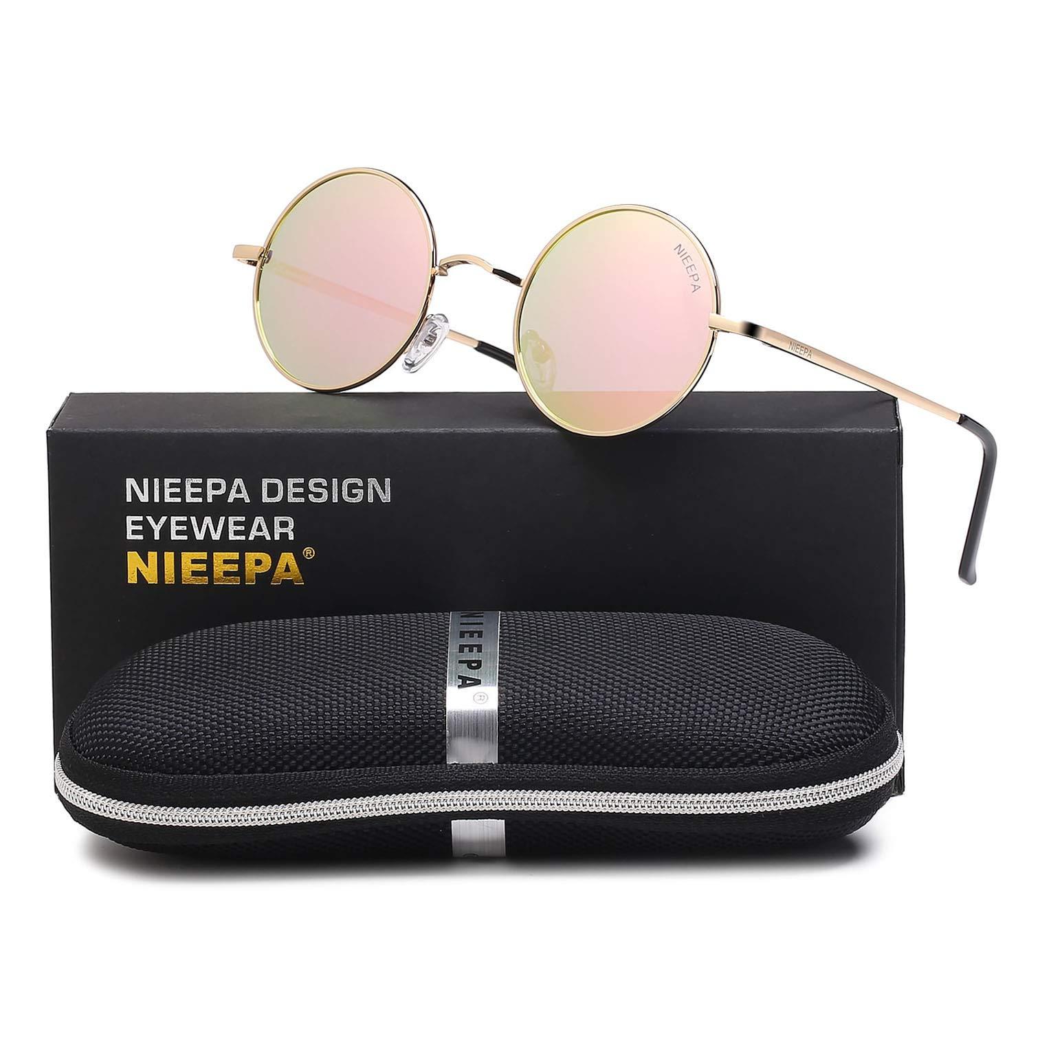 NIEEPA John Lennon Vintage Round Polarized Hippie Sunglasses Small Circle Sun Glasses (Pink Lens/Rose Gold Frame) by NIEEPA
