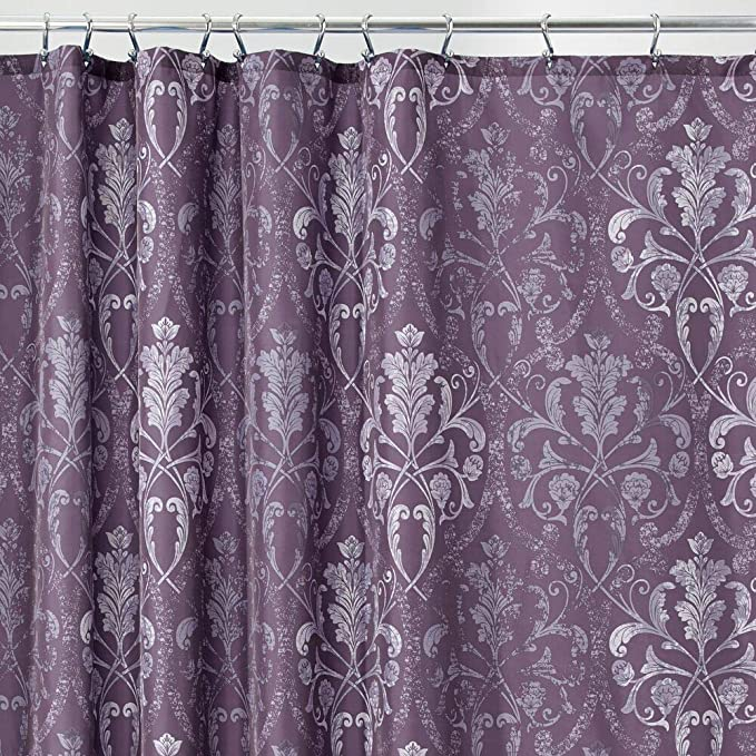 Mdesign Decorative Vintage Damask Print Easy Care Fabric Shower Curtain With Reinforced Buttonholes For Bathroom Showers Stalls And Bathtubs Machine Washable 72 X 72 Purple Home Kitchen
