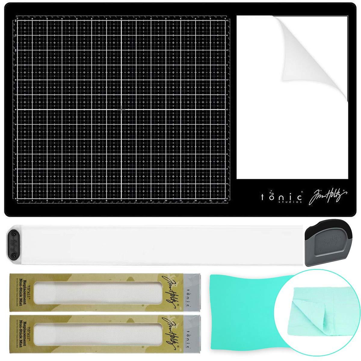 Tim Holtz Glass Media Mat 1914E, Media Tool Set 2124e, 2X Replacement Non-Stick Mat, Pixiss Craft Cleaning Shammy