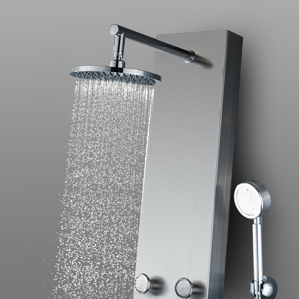 Vantory 59 Stainless Steel Shower Panel System Faucet Rainfall