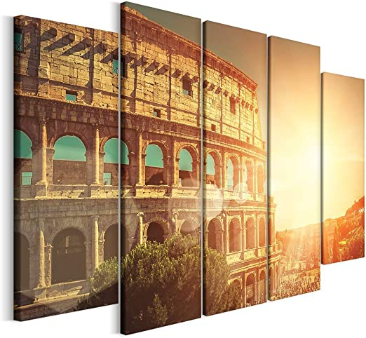 Tipo A 5 Partes Cuadro en Lienzo Decoracion de Pared Revolio Tama/ño: 100 x 70 cm Roma el Coliseo Naranja impresi/ón art/ística